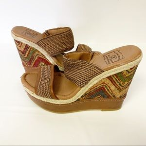 Lucky Brand Cork Multi color wedges LK Candy Cork